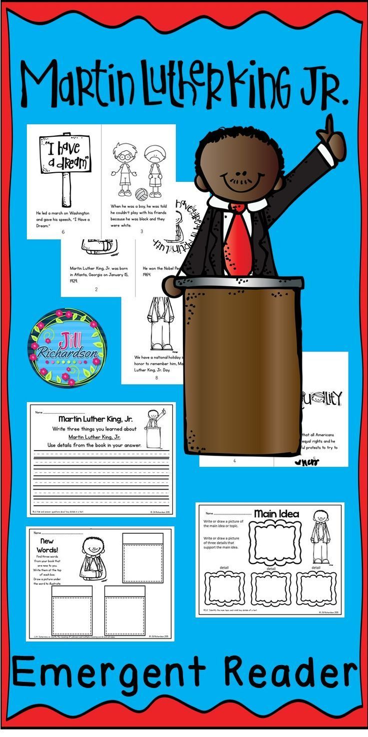 Martin Luther King, Jr. emergent reader will be a great addition to your book boxes in January!  Included:  8 page booklet in color and black and white Main Idea Printable Writing Printable New Words Printable  Let the children put the book in their book boxes and practice reading for a week! Take it home and read it again and again to learn about Martin Luther King, Jr.