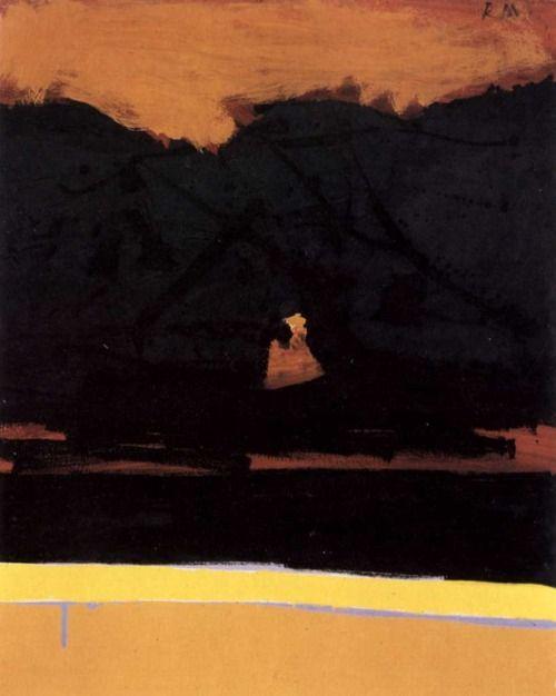 Robert Motherwell (1915-1991) was een Amerikaans, 20e eeuwse kunstschilder en een van de bekendste vertegenwoordigers van het abstract expressionisme. In 1948 werkte Motherwell samen met Baziotes, Barnett Newman en Mark Rothko op een, door Baziotes gestichte school. In deze tijd ontwikkelde Motherwell zich tot de belangrijkste 'woordvoerder' van de New Yorkse avant-garde.