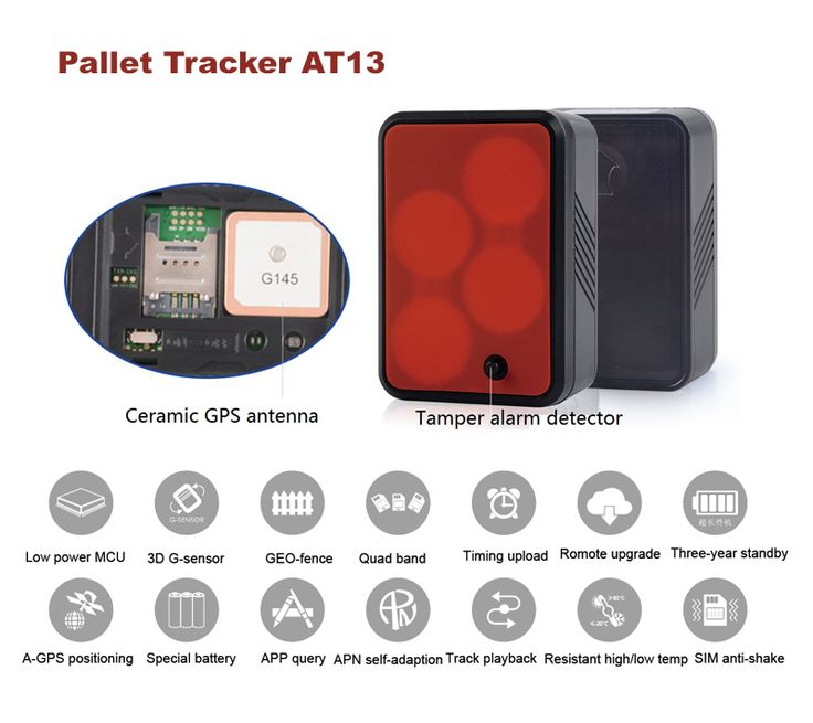Pallet Tracker AT13 Pallet Tracking Solution by ThinkRace Technology. Long standby time. Built-in 5550mAh lithium thionyl chloride battery, standby time up to 3 years.
