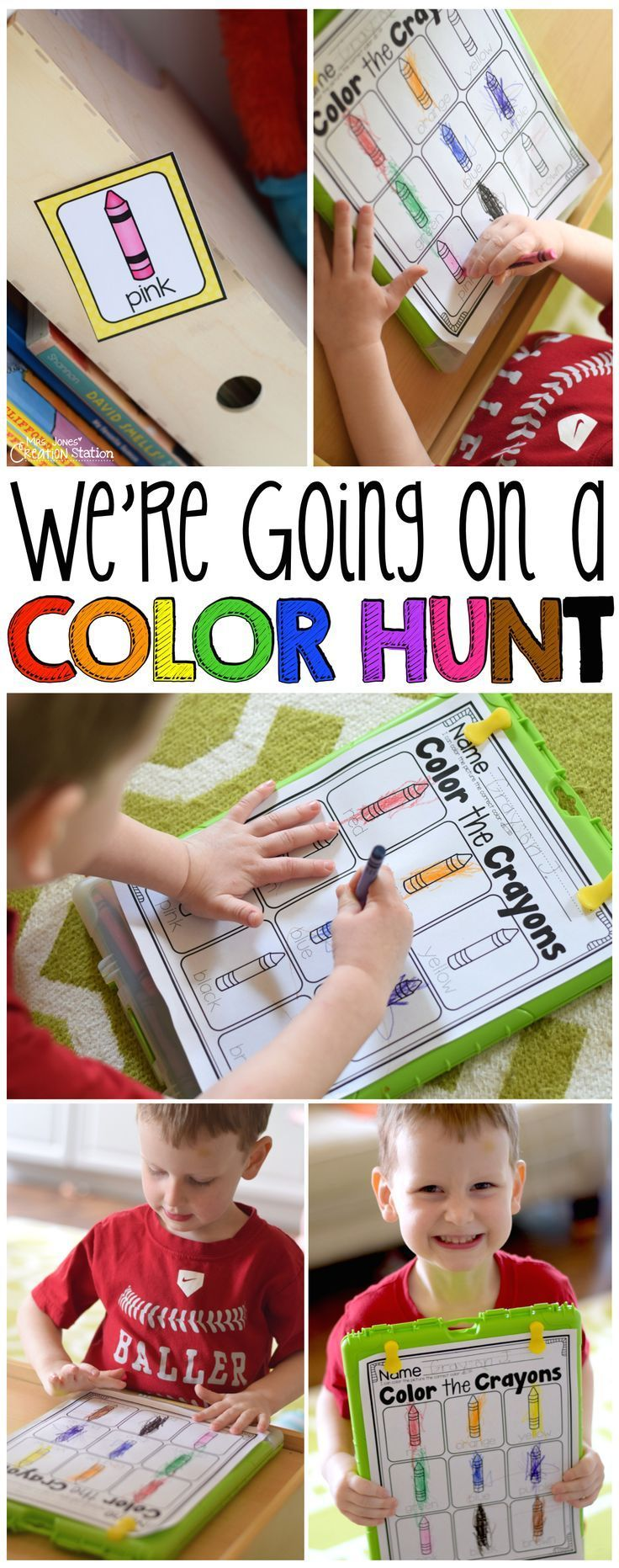 Color games for pre k - We Re Going On A Color Hunt Color Words Color The Room