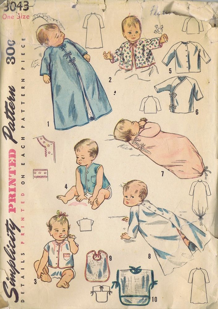 3043 Simplicity Sewing Pattern Newborn Infant Layette Set Transfer One Size CUT