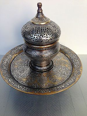 Big Islamic Incense Burner Silver Inlay Mamluk Cairoware Ottoman Persian Script