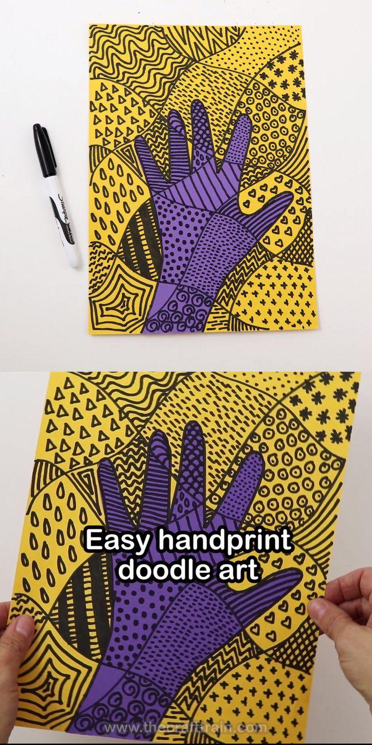 Erstellen Sie auffällige Doodle-Kunstwerke mit Ihrem eigenen Handabdruck als Basis des C