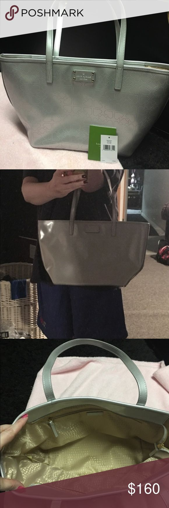 NWT Kate Spade Small Harmony Metro Silver Tote Bag New with tags! SIZE: 17 x 10  Gorgeous Kate Spade tote. Excellent condition inside and out. Very spacious. Open to reasonable offers! kate spade Bags