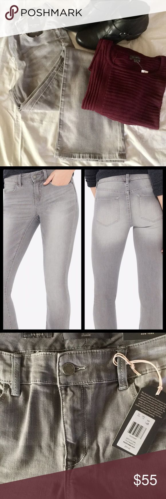 "💋SALE-SILVER-GRAY WASHED JEANS! THE LIMITED, NWT When it comes to jeans, fit is everything. These universal stretch, premium denim jeans conform to your curves so these jeans fit like they were made just for you. Features a contoured waist for a comfortable fit without back-gapping. Gorgeous silver gray wash. New, never worn. Comes in original packaging from The Limited, with tags. * Fly front, 5-pocket style  * Bootcut silhouette * Inseam: 33"" * 69% cotton/20% polyester/ 10% rayon / 1%…"