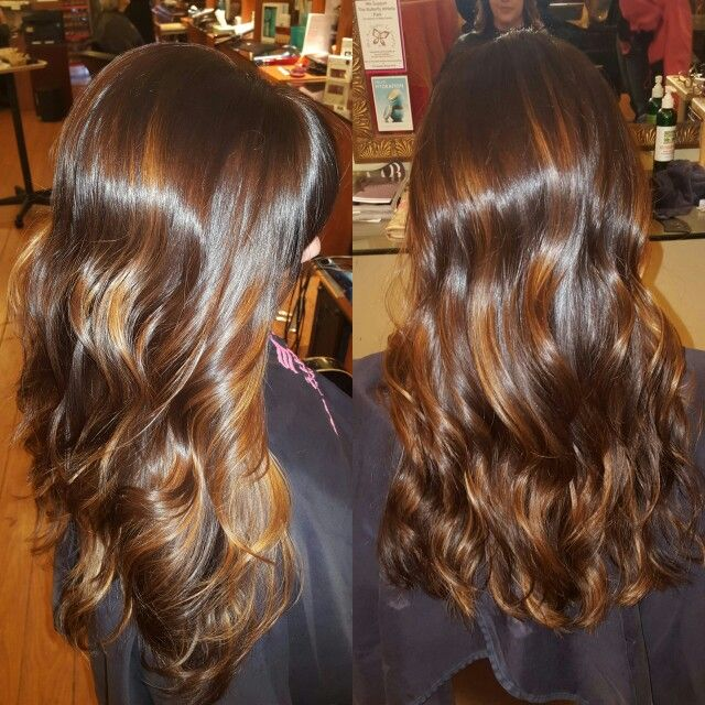 Raspberry And Caramel Sundae Hair Color Dark Brown Hairs