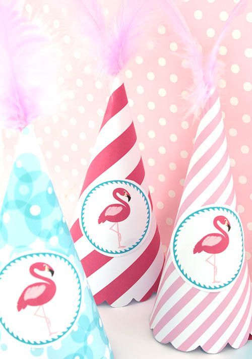 Flamingo Party Hats - Using Flamingo Party Printable Candy Cones & Labels by Style My Party