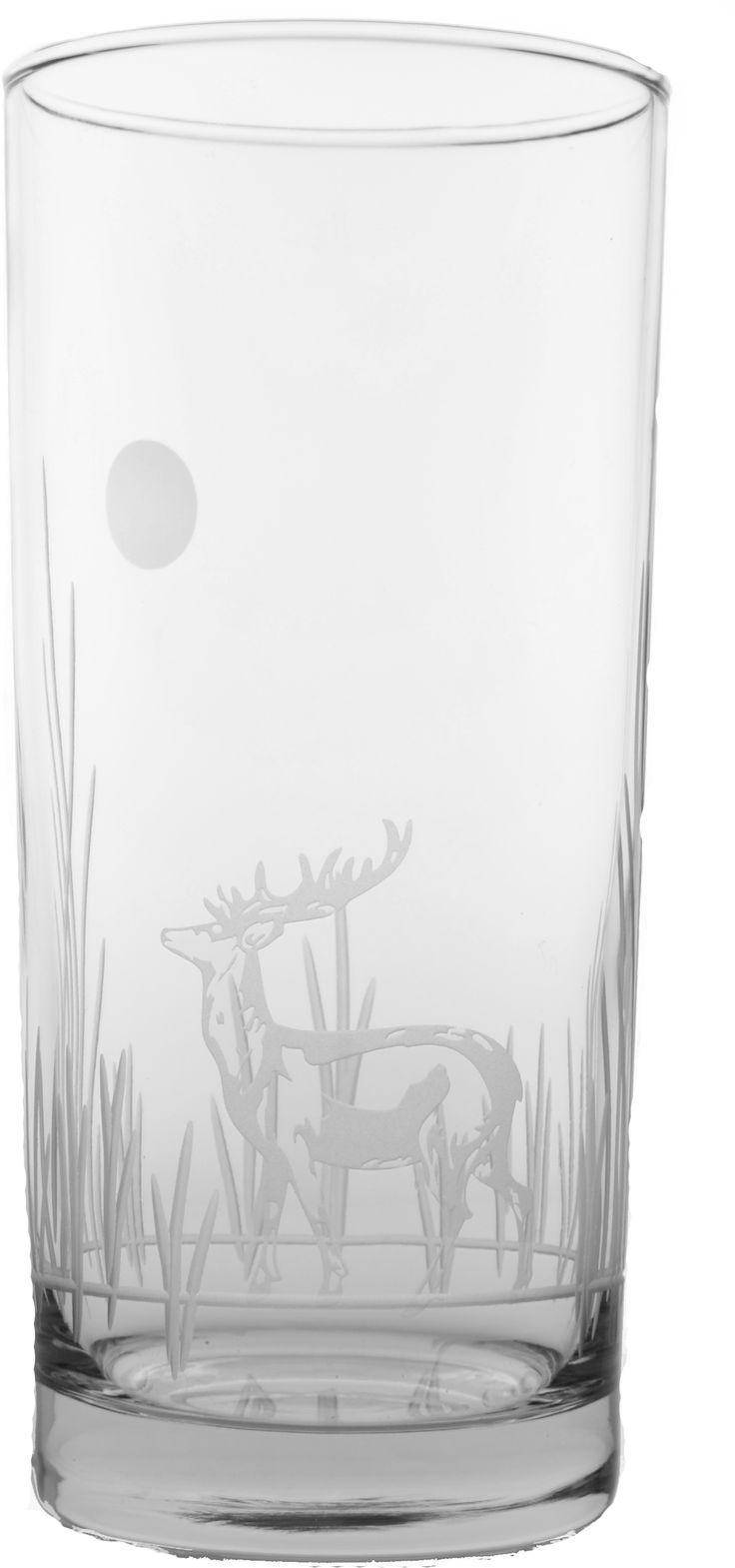 Deer Cooler Glasses Set of 4 15oz - $44.95 #Glassware, #Bar, #Nautical, #Beach, #Tropical, #Bar #deer #decor #kitchen