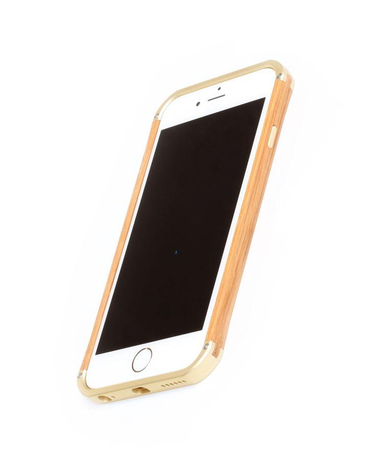 "Hand finished Wood & Aluminum iPhone case ""Frozen Gold & Oak"" combination :)"