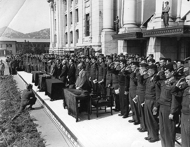 Ceremony welcoming Syngman Rhee on his return to Korea in October 1945.