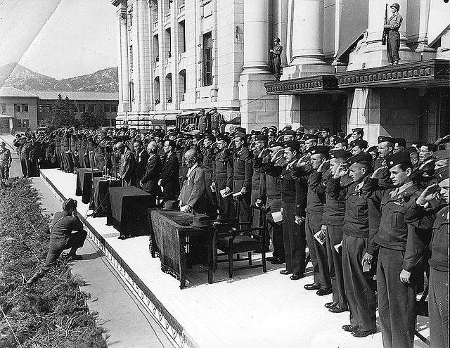 Ceremony welcoming Syngman Rhee on his return to Korea in October 1945.
