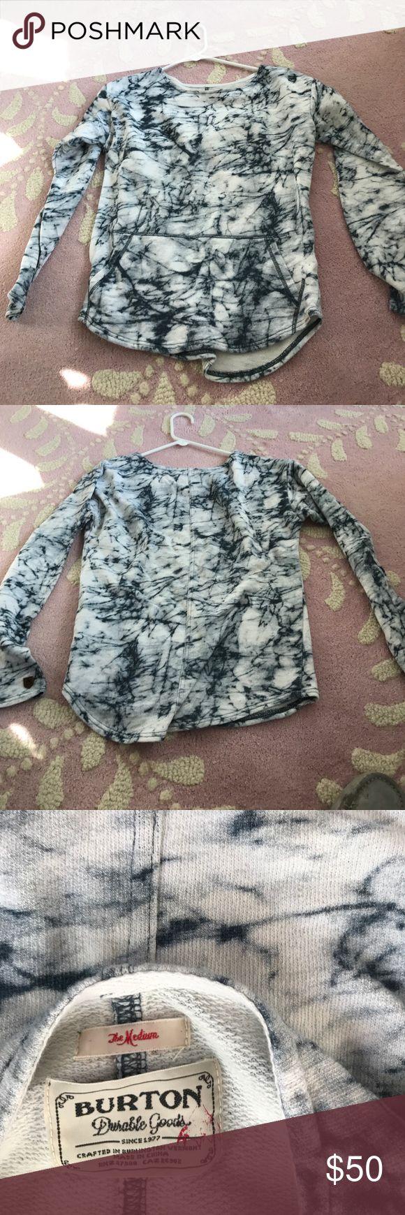Burton Tie Dye Scoop Neck Sweatshirt Cool Burton Sweatshirt! Navy Blue and white! Worn once! Medium Burton Tops Sweatshirts & Hoodies