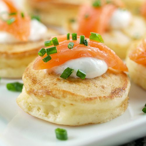 Cream Cheese Pancakes with Smoked Salmon recipe from Baking and Cooking Blog - Evil Shenanigans! Great appetiser! -s-