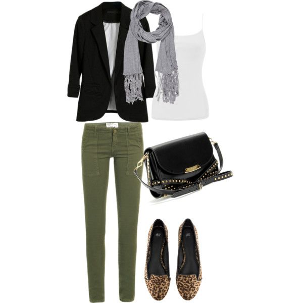 cheetah army green gray scarf outfit winter black blazer flats purse tank fall fashion outfit