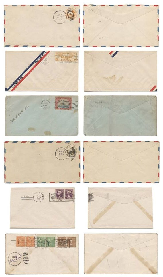 Old mail envelopes templates in Templates and design patterns for personal crafts