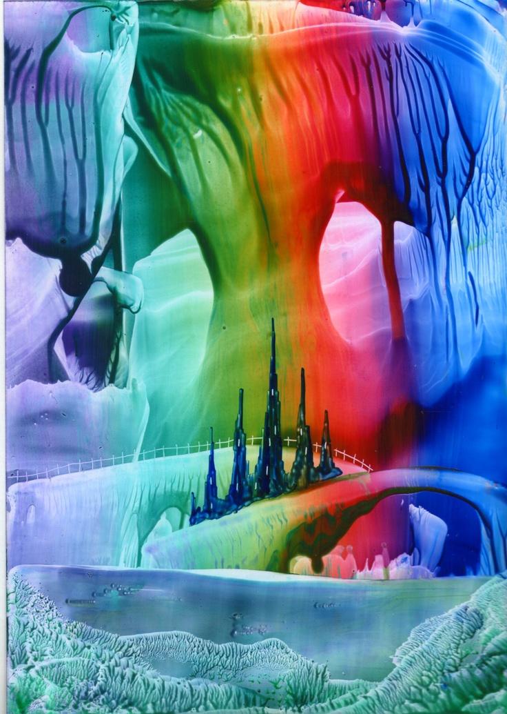 rainbow cavern one of my encaustic art paintings