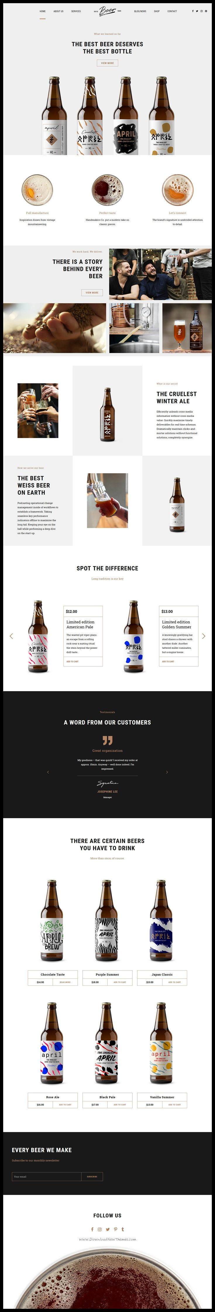 Craft Beer is clean and modern design 6in1 responsive #WordPress theme for #brewery, beerhouse, pub or #liquor shop eCommerce website download now..