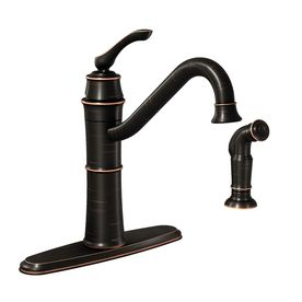 Moen�Wetherly Mediterranean Bronze 1-Handle High-Arc Sink/Counter Mount Kitchen Faucet with Side Spray