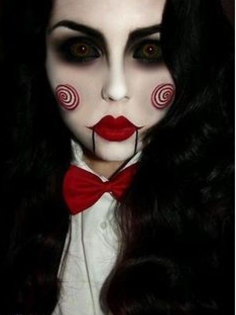 jigsaw 39 s billy the puppet from the saw movies halloween costume and makeup hair nails. Black Bedroom Furniture Sets. Home Design Ideas