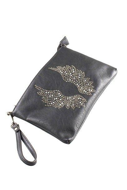 ASIYA TASKE- Little black clutch/ bag with faux simili wings.