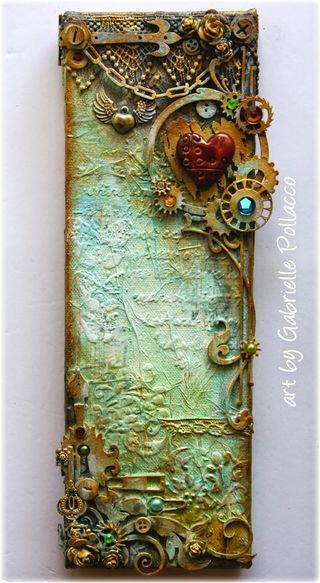 Hi All! I'm thrilled to bring to you today a new VIDEO TUTORIAL using a unique elongated canvas and some really fun Dusty Attic Chipboard and Shimmerz Paints products! I've always wanted to try doing
