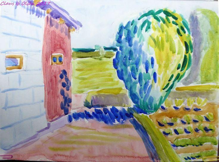 My mother's vegetable garden - watercolor 2017