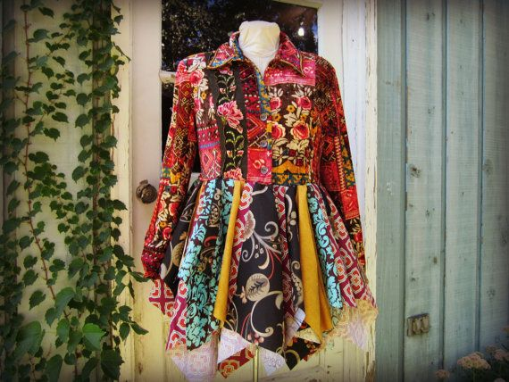 ML Bohemian Gypsy Pixie Coat// Upcycled Fairy Coat// by emmevielle, $215.00