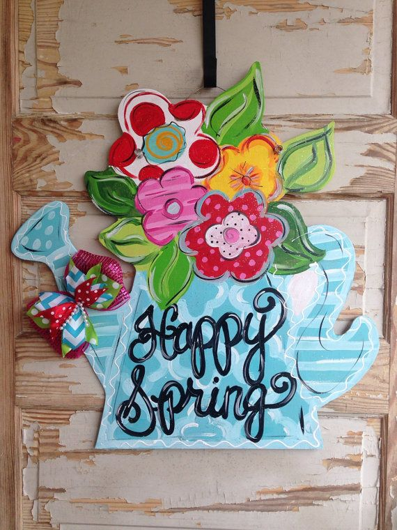 Original Watering Can Flower Bouquet Spring Summer Door Hanger