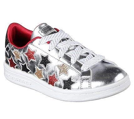 Skechers Kids' Omne Lil Star Side Sneaker Pre/Grade School Shoes (Silver/Multi)