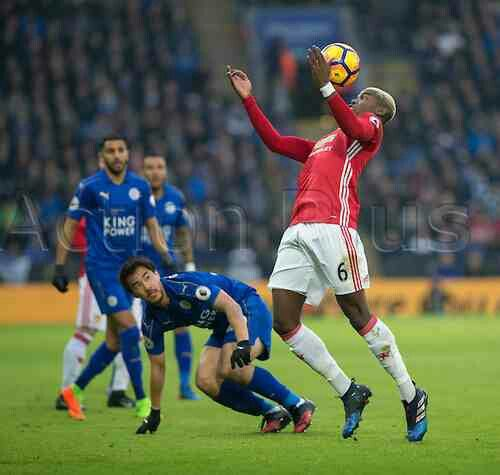 Leicester City 0 Man Utd 3 in Feb 2017 at King Power Stadium. United's Paul Pogba controls the ball with his chest #Prem