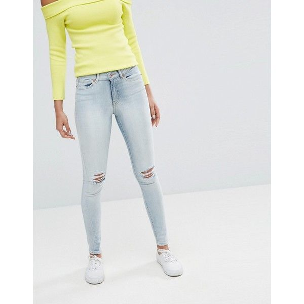 Vero Moda Skinny Jean With Ripped Knee (45 CAD) ❤ liked on Polyvore featuring jeans, blue, super skinny ripped jeans, skinny fit jeans, ripped jeans, skinny jeans and ripped skinny jeans