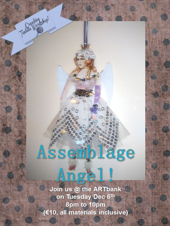 Assemblage angel art with fabric bling!