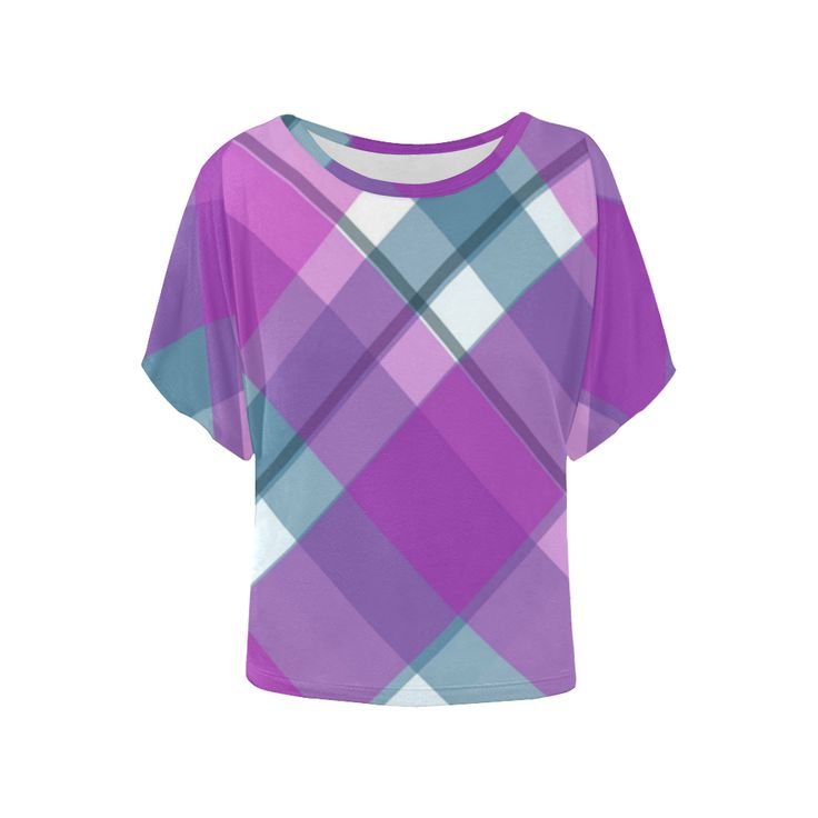 Purple Plaid 1 Women's Batwing-Sleeved Blouse T shirt (Model T44) | ID: D2124733 #purple #womenapparel #blouse #stylish