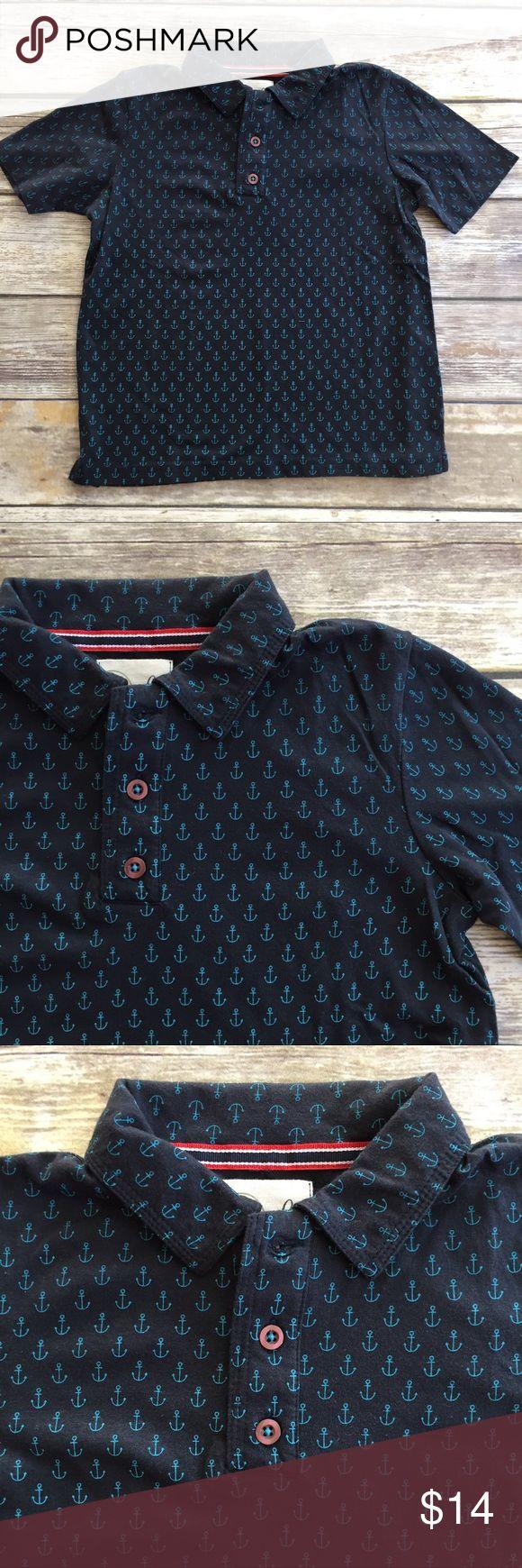 Peek Anchor Polo Navy blue polo collar shirt with light blue Anchor print. VGUC. Boys M (6/7) Peek Shirts & Tops Polos