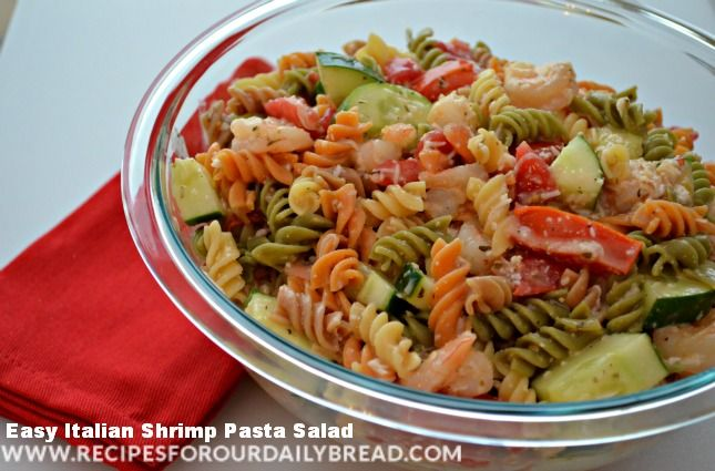 This Easy Pasta Salad Italian Shrimp includes shrimp, pasta, fresh tomato, shredded cheese, a chopped cucumber, and a half bottle of Italian Salad Dressing.