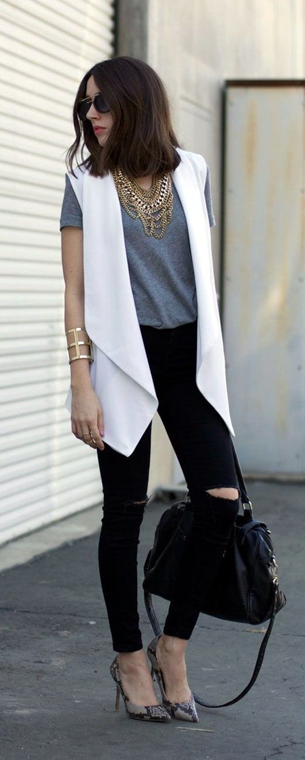 OH-MY-GOD ! Try These 25 Chic Sleeveless Blazer Outfits In Every Season | Sleeveless Blazer Outfits | Fenzyme.com