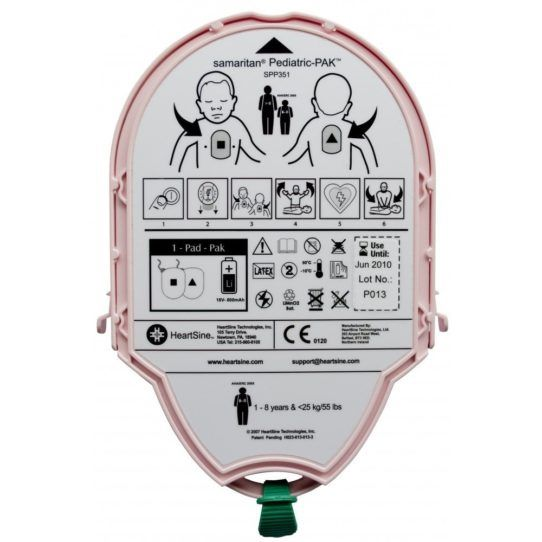 HeartSine Samaritan AED Paediatric PAD-Pak 04 is compatible with the HeartSine Defibrillator AEDs: PAD350P, PAD360P and PAD500P. Unique battery and pad in one cartridge – 4 year life, single use.
