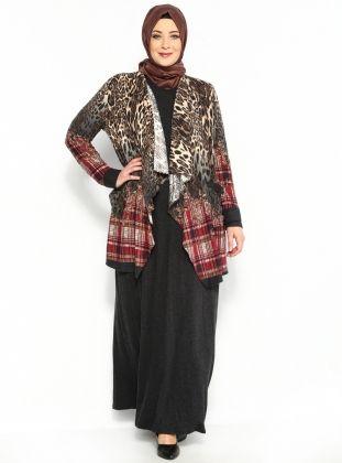 Leoparlı 2`li Takım Elbise - Bordo - He&amp De :: Zinde Market