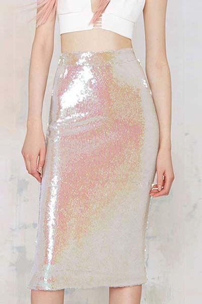 Pink Sequins Elastic Waist Skirt #style #fashion #skirt