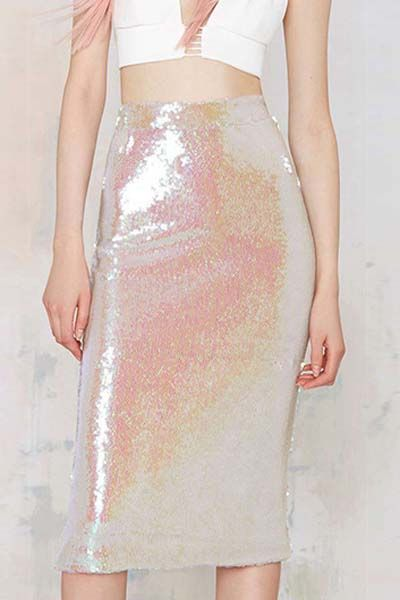 Pink Sequins Elastic Waist Skirt - looks like a mermaid! this would also be good for a Scream Queens Halloween costume as one of the Chanels