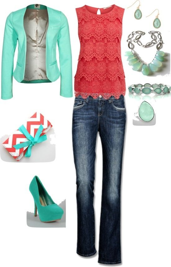 Love the lacy coral shirt with sea green jacket!!!!!! Nice color combo