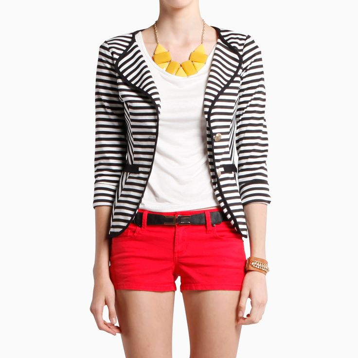 love it allLight Pink Blazers, Colors Combos, Red Stripes, White Blazers, Clothing, Stripes Blazers, Blazers And Shorts, Buttons Blazers, Red Shorts