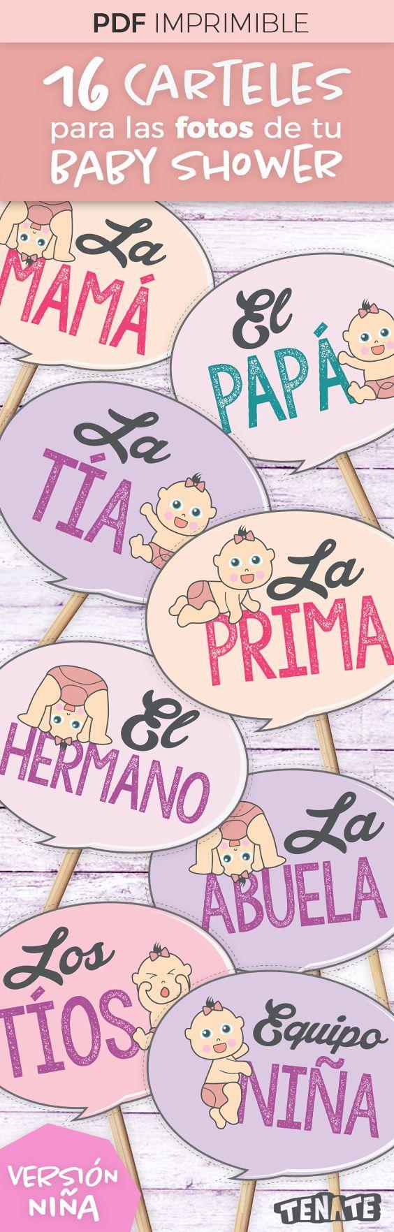 Baby Shower de Niña  Carteles / banners / letreros / photo booth Baby Shower. Son 16 carteles. ¡Con estos divertidos carteles involucra a la familia del bebé en tu Baby Shower! Después usa las fotos para crear un bonito álbum de recuerdos para el bebé.