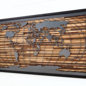 World Map Artwork Made Of Old Barnwood And Natural Steel 48 by Craig  Forget