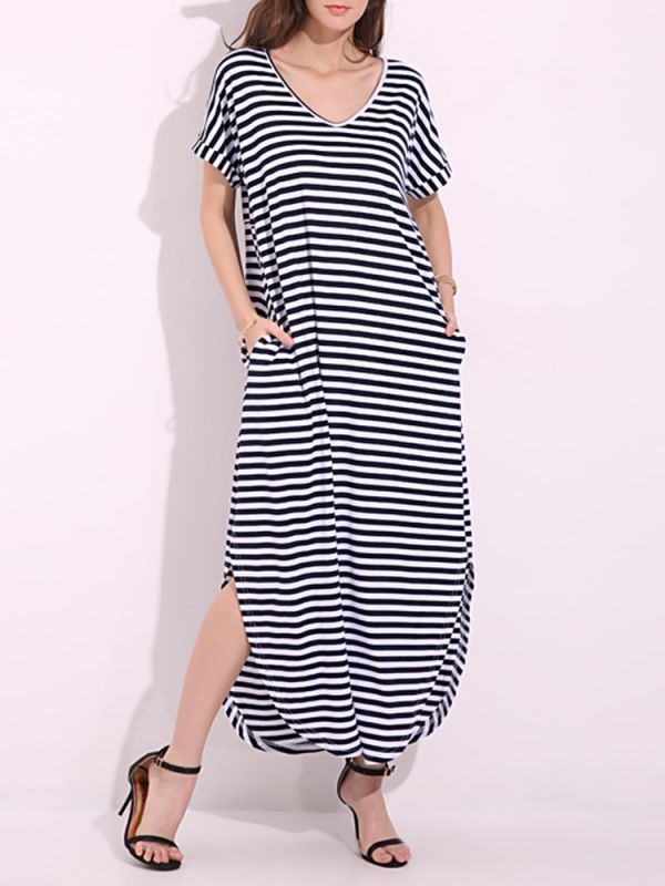 Casual women striped slit curved hem v-neck maxi dresses s maxi dress #maxi #dresses #canada #maxi #dresses #gap #maxi #dresses #images #v #neck #halter #maxi #dresses