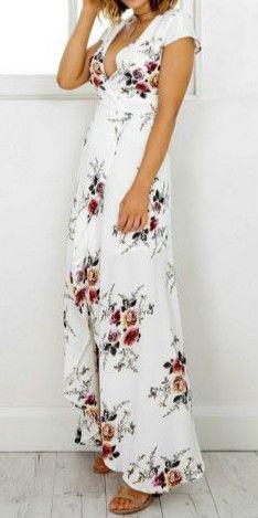 Women's Deep V Neck Short Sleeve Floral Printed Split Maxi Dress