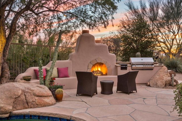 Southwestern Patio with Fence, Sunbrella Canvas Henna 20 in. Square Outdoor Throw Pillow, outdoor pizza oven, Outdoor kitchen