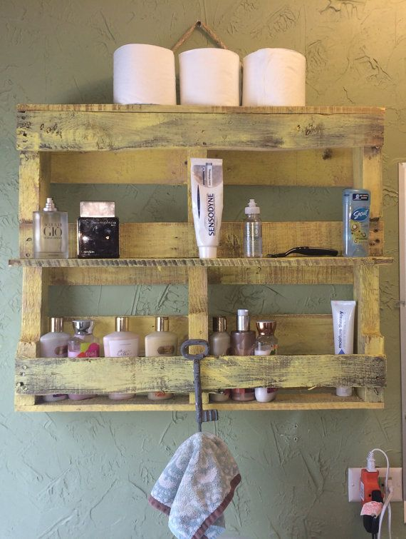 wooden pallet bathroom towel rack and shelf by