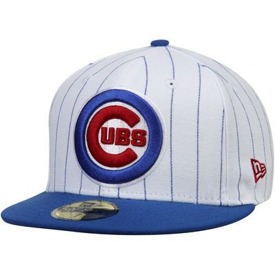 Chicago Cubs New Era Pinstripe 59FIFTY Fitted Hat - White/Royal