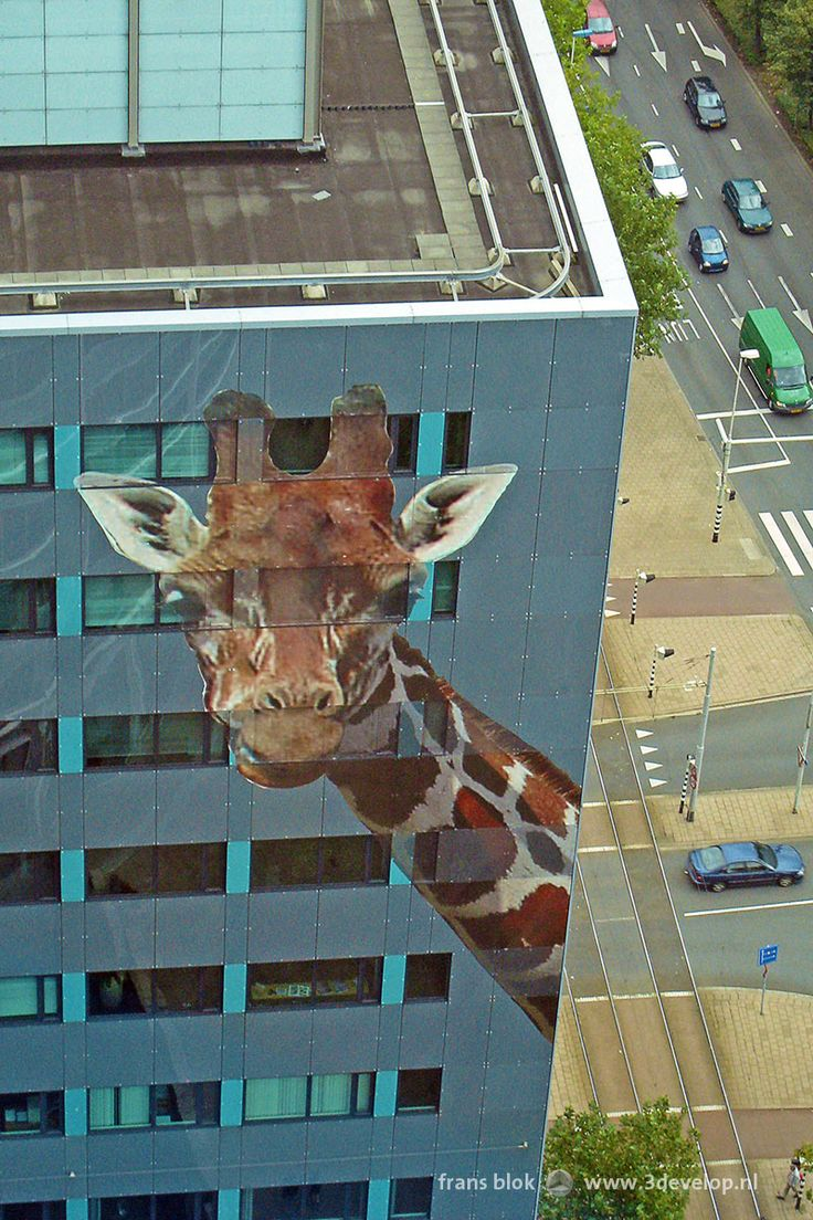 Giraffe on Rabobank tower, as an advertisement for Blijdorp Zoo, in Rotterdam, the Netherlands